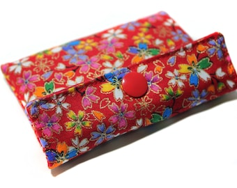 card holder red Japanese fabric