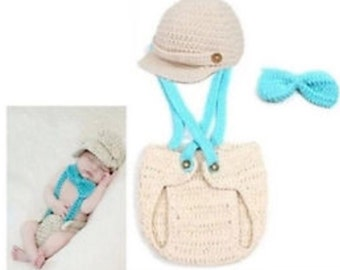 Baby overall 3 piece crochet set