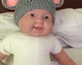 Gray mouse crichet hat