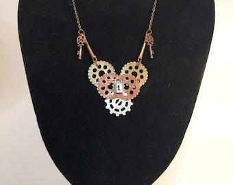 Steam Punk Gear Heart Necklace