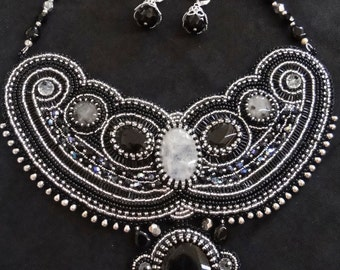 back and white embroidery necklace