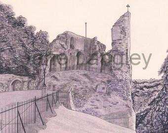 Knaresborough Castle : Original artwork in pen and coloured pencil, 24cm x 18.2cm