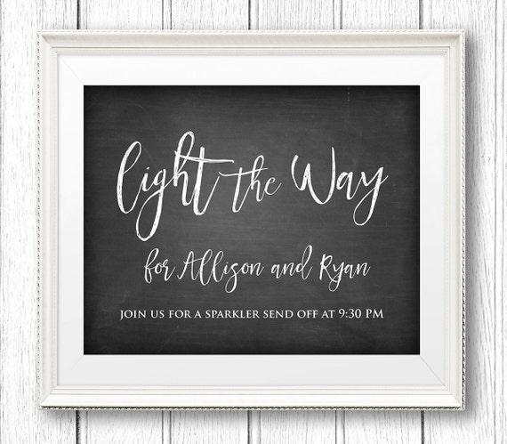 Sparkler Send Off Sign, Light the Way, DIY Wedding Sign, Instant Download, Editable Text, PDF Template, Digital Download, 8x10 #CH20