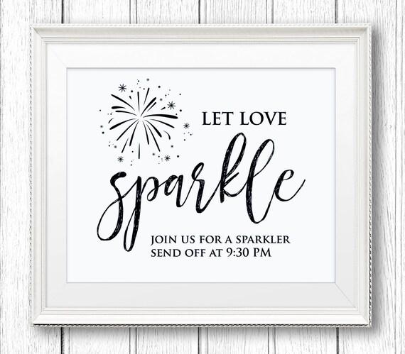 Sparkler Send Off Sign, Let Love Sparkle, DIY Wedding Sign Printable, Instant Download, Editable Text, PDF Template, Digital Download #SW21