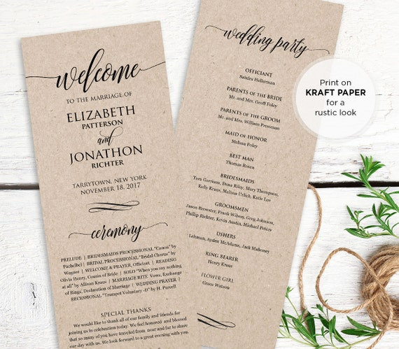Wedding program printable order of service by mintypaperieshop for Christian wedding order of service template