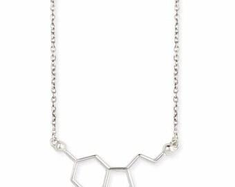 Serotonin Necklace - Serotonin Molecule Necklace - Chemistry jewlery - Serotonon Jewelry - Silver Serotonin