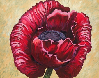Poppy, red poppies, giant red poppy, red flower, botanicals, red, flowers, floral, oil painting, art, giant poppy