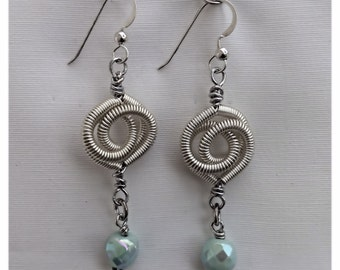 Silver Coiled Wire Earrings with Turquoise Glass Beads - #11274