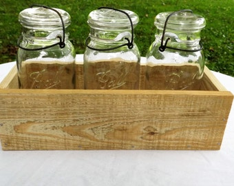 Rustic Wooden Box With Vintage Canning Jars