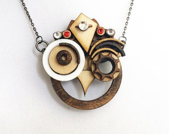 King Hoot - SteamPunk Wood Owl Statement Necklace Pendant with glass-cut rhinestones for festivals and Steam Punk occasions
