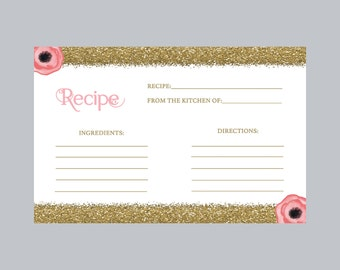 Recipe Card Bridal Shower, Pink and Gold Recipe Card Bridal, Pink Recipe Card, Flower Recipe Card, Bridal Shower Recipe Card, Printable