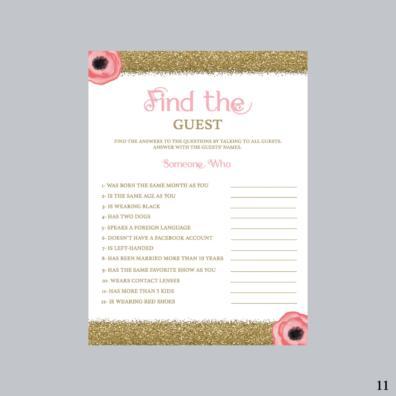find the guest bridal shower game pink and gold bridal shower