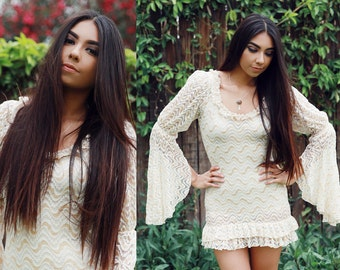1970s Lace Bell Sleeves Mini Dress - Small