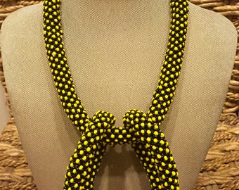 Standout, Vibrantly Colored Yellow And Blue Beaded Necklace And Matching Bracelet