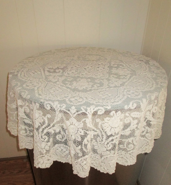 Vintage Lace Tablecloth With Flaws Off White Small Round Lace