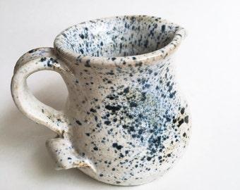 blue splatter studio pottery mini pitcher