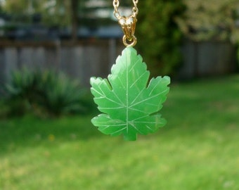 Canadian Polar Jade Maple Leaf Pendant with Silver Chain