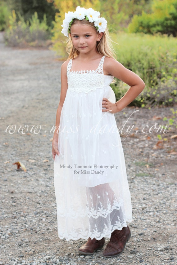 Flower Girl Dress, Boho flower girl dress, Lace girl dress, Lace baby Dress, Country White Bohemian Flower girl, Beach Girl Dress,Jade Dress