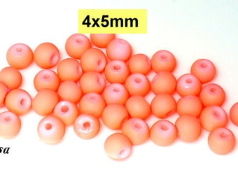 30 beads, beads neon Red frosted 4x5mm (K894)
