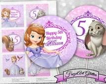 Princess Sofia Cupcake toppers Cake toppers Sofia the First birthday party prints Sofia cake decoration