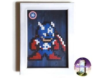 Captain America Avengers Picture Frame Marvel SuperHero [Pixel Art Hama Beads]