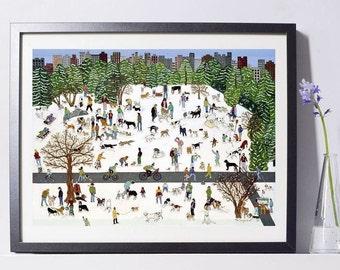 Dog Hill, Central Park Art Painting PSNY - Home Decor