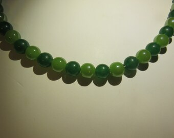 Light Green and Dark Green glass beaded necklace