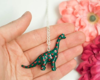Necklace Brontosaurus-Green dinosaur necklace