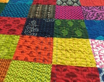 King size Patchwork Quilts Handmade colorful patches 100%cotton Kantha quilt Reversible Ready to ship Quilt, modern cotton quilts BDFR31