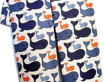 """2 Kitchen-diner-tea towels  linen flowers """"Cetacea"""" (20"""" x 27,6""""), Gift"""