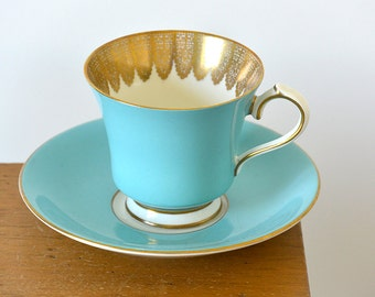 Two, Vintage, Tiffany Blue and Gold Trimmed, Made in England, Ansley, Teacup and Saucer Sets. - 25% OFF CODE: bbsummersale