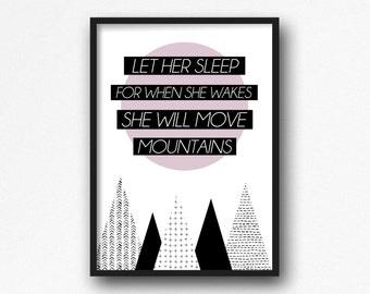 Let her sleep print. Kids room. Nursery decor. Modern. Quote print
