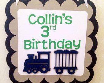 Train Birthday Sign//birthday party//blue,green,white,grey