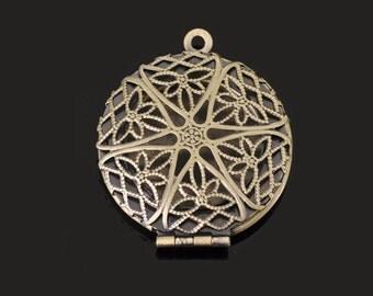 wholesale 5pcs vintage brass antique bronze locket pendant,photo locket,round locket