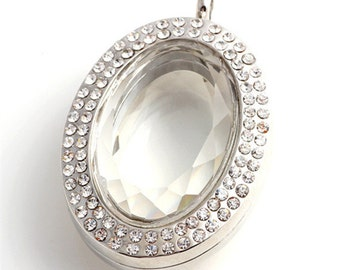 New Design Facted Oval Living Glass Floating Locket Silver Tone
