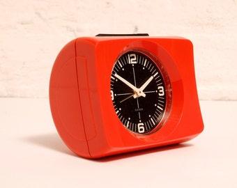 Vintage West German Plastic KAISER Mechanical Orange ALARM CLOCK from the Seventies