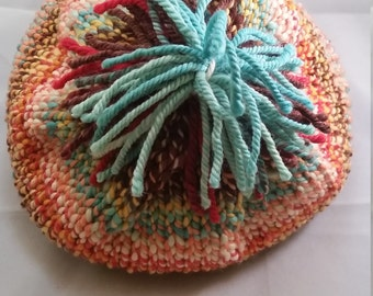 Oops!  I Made A Hat! From Join The Circus colourway, handspun, 100% wool , Size: Adult, toque, ski hat, winter hat, OOAK, pompom, original.