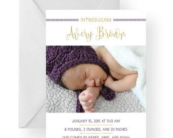 Birth Announcement, Baby boy announcement, baby girl announcement