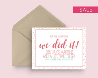 SALE: First Wedding Anniversary Card - Pop the Champagne - Pink and Green - One Year Wedding Anniversary - Modern Wedding Anniversary