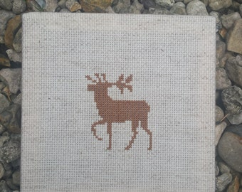 Deer completely cross stitched and framed. Handmade item