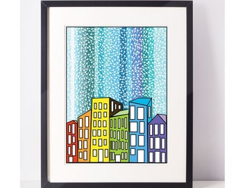 CityIsh: Giclee Print, Art Print, Arrows, City, Wall Art, Buildings