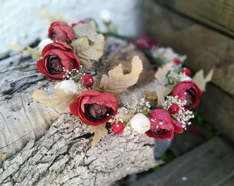 Tiara of red flowers.