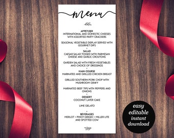 Wedding Menu Printable Template, Dinner Party Printable, Wedding Menu Card, Menu Printable, Rustic Menu, PDF Instant Download, editable