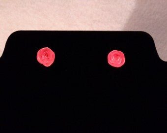 Pink polymer clay rose earrings