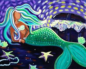 Treasure Goddess 9x12 Canvas, mermaid art, original painting
