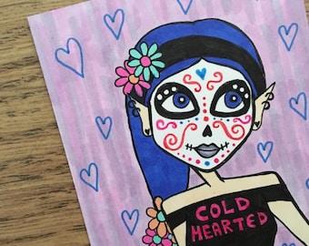 Cold Hearted Sugar Skull Sketchcard / Original art / ATC / ACEO / Perfect as mini art / Halloween