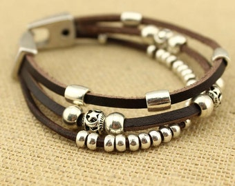 Multi strand alloy beads leather cord wrap bracelet, mens bracelet, S 317