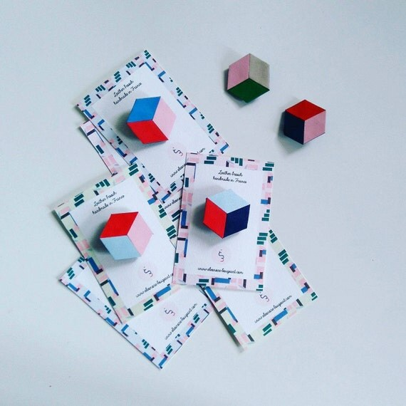 """Leather brooch """"Cube"""""""