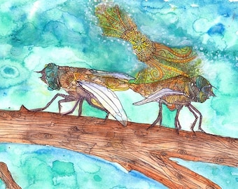 "Mystic spirit Beautiful Colorful Flies lovers mate Original Watercolor & Pen illustration Painting Art Print 9x13"" Modern wall home Décor"