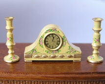 Hand-Painted Dollshouse Miniature Clock & Candlesticks - Buttermilk